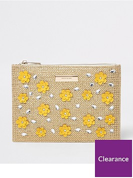 river-island-3d-flower-pouch-gold