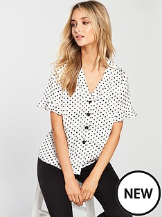 v-by-very-polka-dot-button-through-blouse-ivory