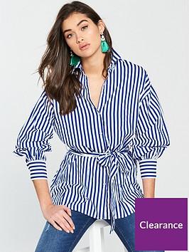 river-island-river-island-tie-waist-stripe-shirt--blue