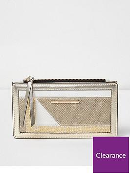 river-island-cutabout-slim-foldout-purse-gold