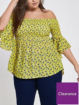 ri-plus-shirred-printed-bardot-top-yellow
