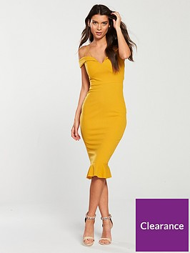 db069593b6 AX Paris Strappy Off The Shoulder Frill Hem Dress - Mustard ...