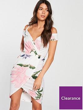 ax-paris-cold-shoulder-floral-print-wrap-dress-creamnbsp