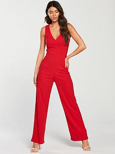 ax-paris-v-neck-wide-leg-jumpsuit-red