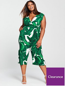 ax-paris-leaf-print-wide-leg-jumpsuit-green