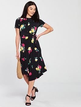 v-by-very-side-tie-waist-midi-dress-print