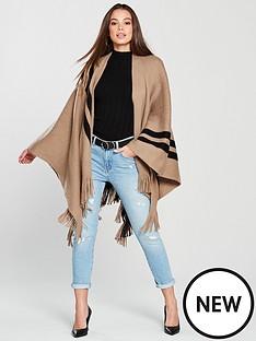 v-by-very-nova-stripe-border-cape-camel-black
