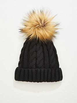 v-by-very-rachael-cable-knit-pom-pom-beanie-hat-black
