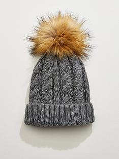 v-by-very-rachael-cable-knit-pom-pom-beanie-grey