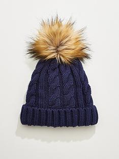 v-by-very-rachael-cable-knit-pom-pom-beanie-hat-navy
