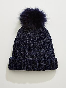 v-by-very-rebeka-chenillenbsppom-pom-beanie-navy