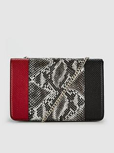 v-by-very-keira-colour-block-snake-print-clutch