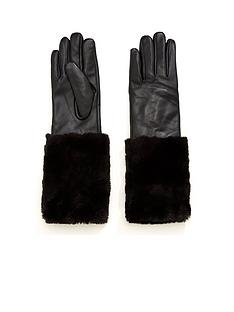 v-by-very-valerie-leather-faux-fur-trim-glove-black