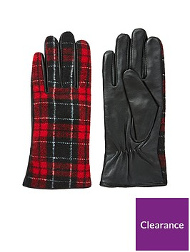 v-by-very-vanessa-leather-check-glove-black-red