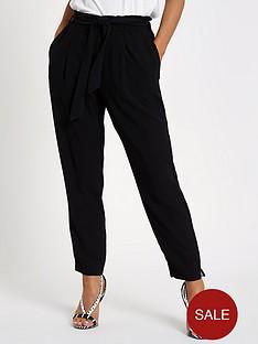 ri-petite-ri-petite-belt-detail-tapered-fit-trousers--black