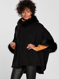 v-by-very-noelle-premium-faux-fur-cape-black
