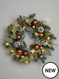 pre-lit-bronze-christmas-wreath