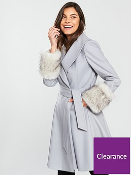 ted-baker-zurii-faux-fur-cuff-skirted-coat-grey