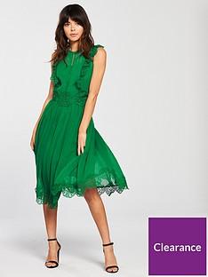 a72082fa078142 Ted Baker Porrla Frill Lace Midi Dress - Bright Green