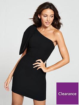 michelle-keegan-bow-one-shoulder-dress-black