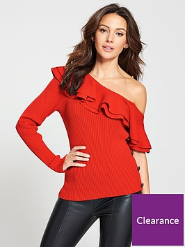 michelle-keegan-button-side-asymmetric-jumper-red