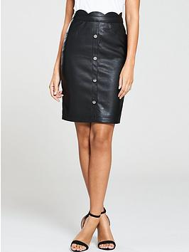 michelle-keegan-button-front-pu-skirt-black