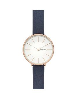 skagen-karolina-rose-gold-tone-case-with-blue-leather-strap-ladies-watch