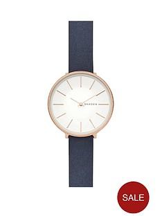 skagen-skagen-karolina-rose-gold-tone-case-with-blue-leather-strap-ladies-watch