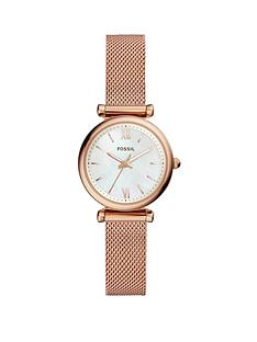 fossil-fossil-carlie-rose-gold-tone-mesh-bracelet-and-mother-of-pearl-dial-ladies-watch