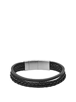 fossil-fossil-black-leather-casual-texture-multi-strand-mens-bracelet
