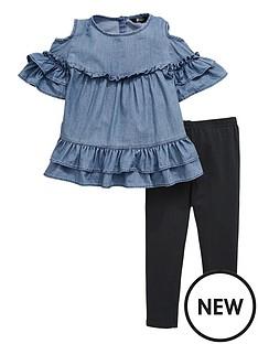 mini-v-by-very-tencel-cold-shoulder-top-amp-legging-set