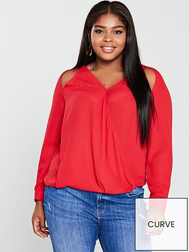 v-by-very-curve-cut-out-detail-wrap-blouse-red