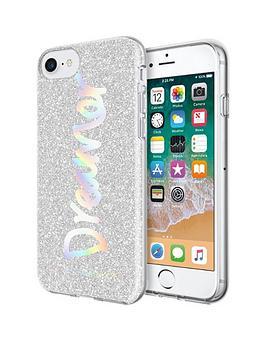 rebecca-minkoff-be-more-transparent-case-for-iphone-8-amp-iphone-7-dreamer-silver-glitterholographic-foil