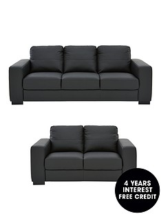 Morton Real Leather Faux 3 Seater 2 Sofa Set And Save