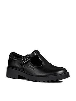 geox geox casey girls leather t-bar school shoe