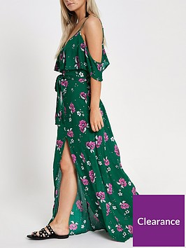 ri-petite-floral-cold-shoulder-maxi-dress-green