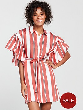 river-island-river-island-frill-sleeve-stripe-shirt-dress--red
