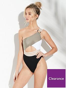 river-island-river-island-one-shoulder-elastic-swimsuit--khaki