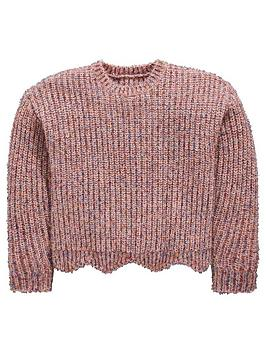Mini V by Very Mini V By Very Girls Sparkle Pink Scallop Hem Jumper Picture