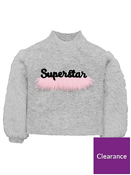mini-v-by-very-girls-superstar-faux-fur-trim-jumper