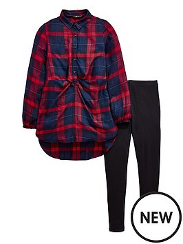 v-by-very-girls-check-tie-front-shirt-amp-legging-outfit