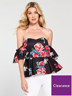 v-by-very-peplum-frill-sleeve-top-printed