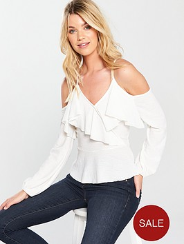 v-by-very-ruffle-wrap-top-white