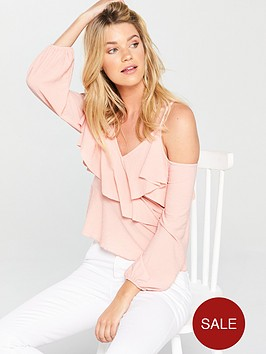 v-by-very-ruffle-wrap-top-pink