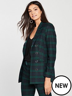 v-by-very-green-check-longline-jacket-check