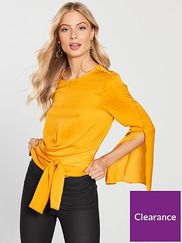 v-by-very-satin-split-sleeve-tie-detail-top-mustard