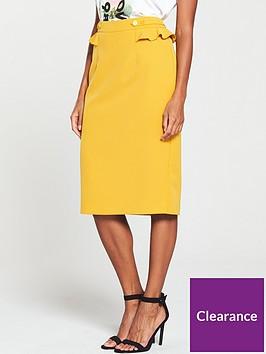 v-by-very-frill-detail-pencil-skirt-mustard