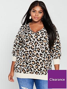 v-by-very-curve-v-neck-jumper-leopard-print