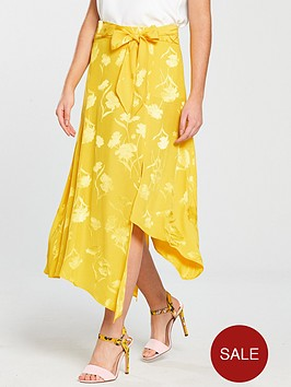 river-island-jacquard-tie-front-skirt-yellow