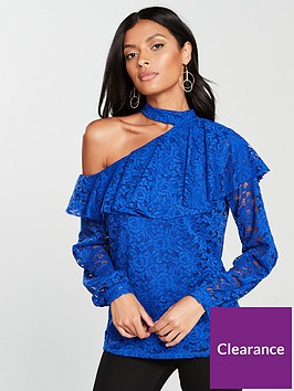 v-by-very-lace-choker-frill-one-shoulder-top-blue